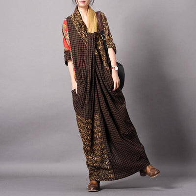 Spliced Print Vintage Women Dress