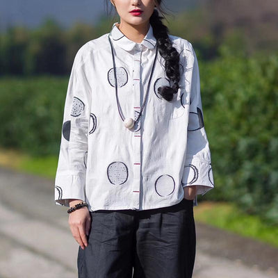 Spring Dot Embroidery Cotton Female Shirt