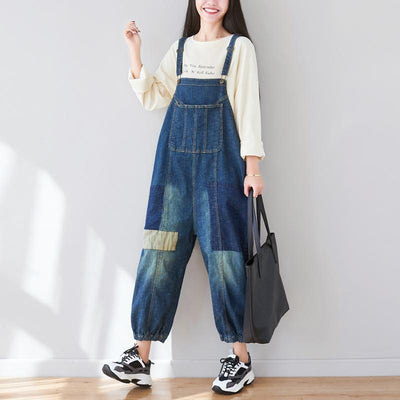 Square Patchwork Casual Adjustable Jumpsuit