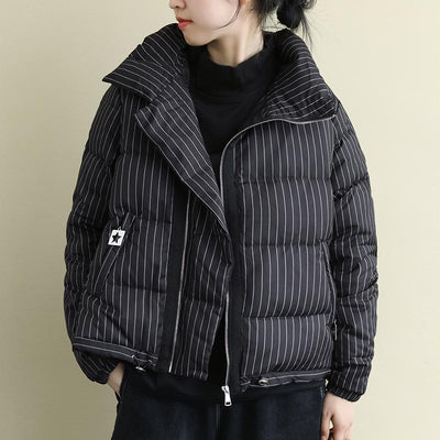Stand Collar Casual Striped Warm Down Coat