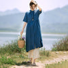 Stand Collar Single Breasted Casual Shirt Dress