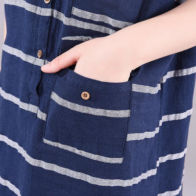 Striped Short Sleeve Elegant Round Collar Dress