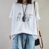 Summer Cotton Letter Spliced Short Sleeve T-shirt