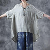 Summer Cotton Soild Asymmetric Three Quarter Sleeve Shirt