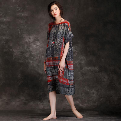 Summer Round Neck Travel Loose Printed Dress