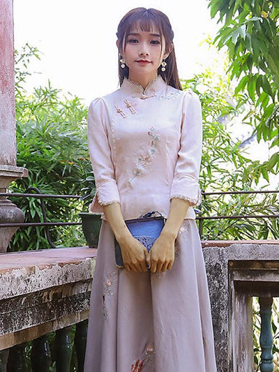 Chinese Traditional Stand Collar Top with Floral Print