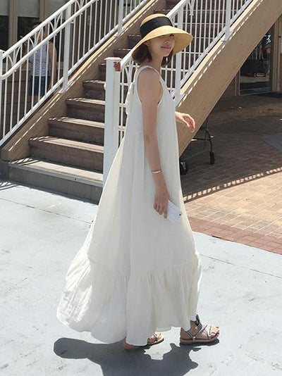 Summer Sleeveless V-necked Long Dress in White Color