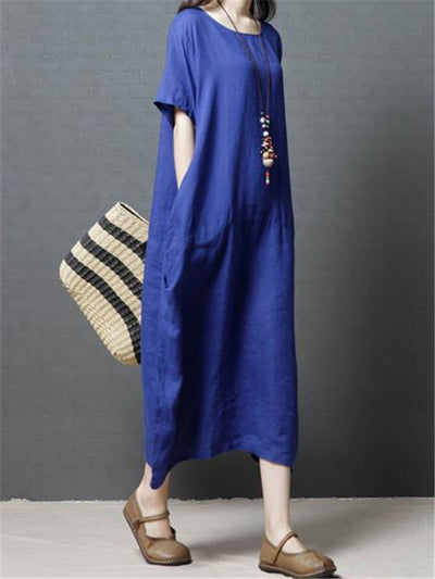 Solid Color Cotton Long Dress