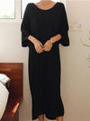 Black Three-quarter Sleeve Long Dress with Open Back Cut