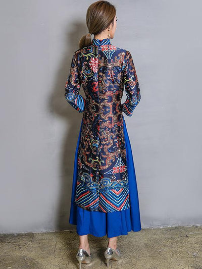 Original Long Dress in Blue Color with Floral Print