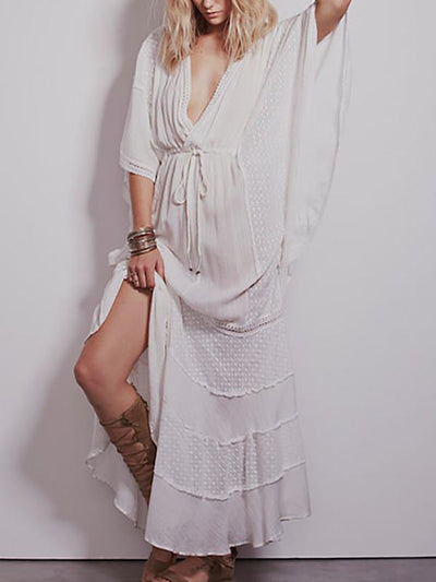 Casual V-neck Kaftan Maxi Dress
