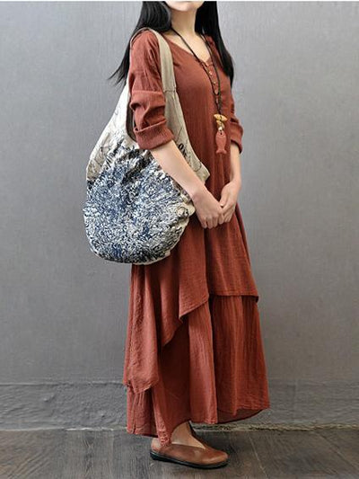 Casual Cotton Fashion Dress in Brick Color