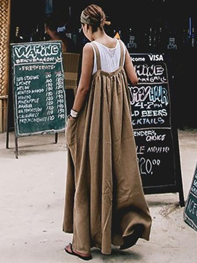 Casual Convenient Cotton Jumpsuit in Black and Coffee Color