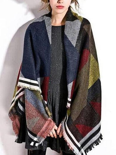 Fashion Geomertry Raw Edges Cape Scarf