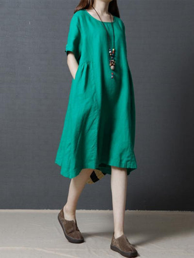 Casual Three-quarters Sleeves Short Cotton Dress, Three Colors