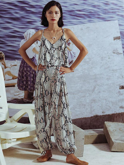Sleeveless Two-pieces Wide Leg Suits