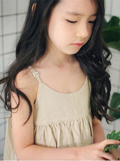 Casual Open Shoulder Sleeveless Girl Kid Dress in Apricot Color