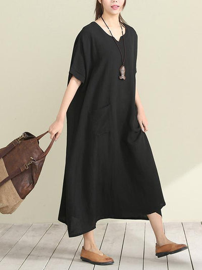 Casual Open-neck Long Dress in Loose Style, Red and Black Color