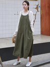 LOOSE COMFORTABLE CONDOLE BELT COTTON JUMPSUIT