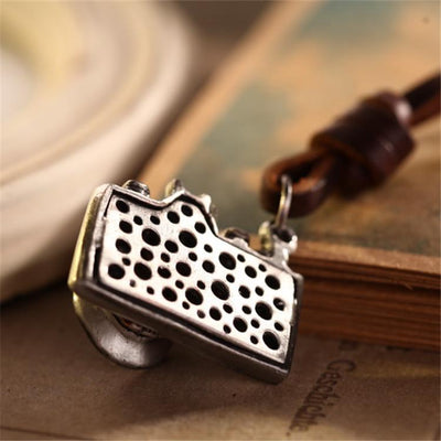 Trendy Cowhide Rope Alloy Camera Pendant Necklace