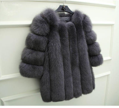 New Elegant Immitation Fox Fur Jacket Women
