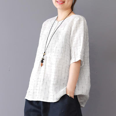 Vintage Linen Plaid Short Sleeve Blouse