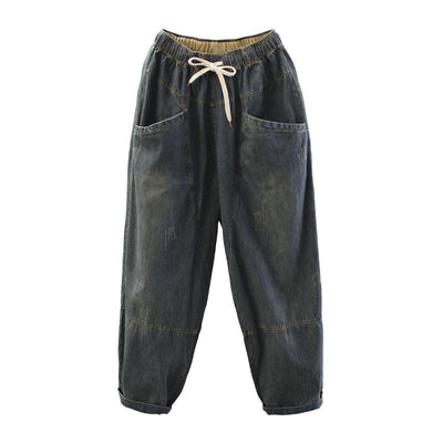 Vintage Loose Elastic Waist Spliced Distressed Jeans