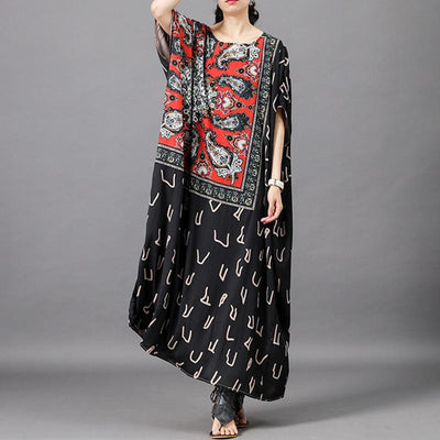 Vintage Spliced Batwing Sleeve Loose Dress