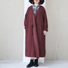 Vintage Women Long Sleeve Lacing Embroidered Wine Red Coat