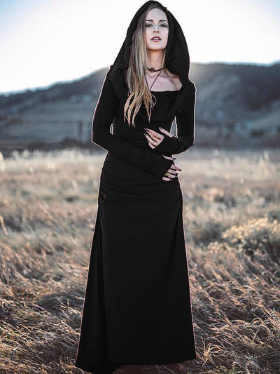 Backless Long Sleeved Hooded Maxi Dress