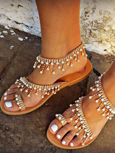 Pretty Handmade Beach Flat Sandals
