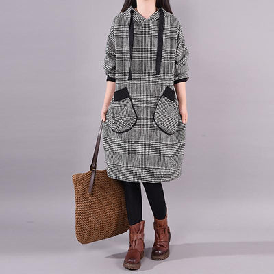 Winter New Plaid Lacing Loose Dress