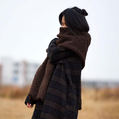 Winter Pure Color Thick Thermal Scarf