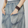 Women Casual Splcied Elastic Waist Pockets Jeans