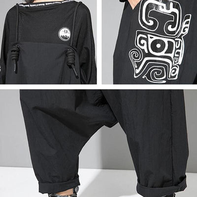 Women Cool Loose Black Print Overalls