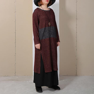 Women Round Neck Long Sleeve Splitting Sweater Dress