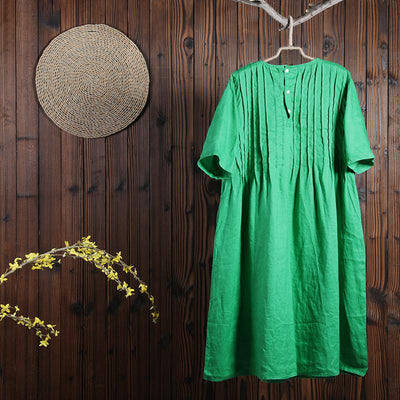 Women Spring Casual Mid-Calf Pullover Loose Short Sleeve Dress