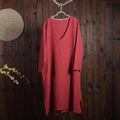 Women Spring Casual Solid Pullover Loose Long Sleeve Dress