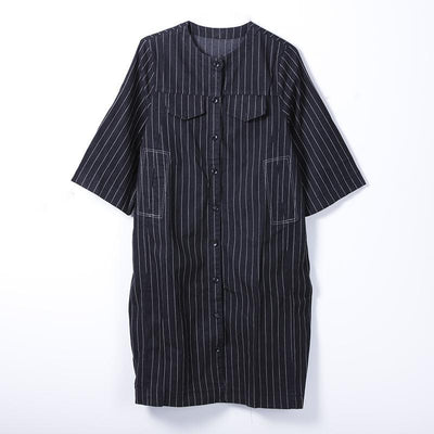 Women Spring Casual Striped Mid-Calf Cardigan Long Sleeve Loose Dress