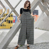 Women Spring Plaid Loose Casual Jumpsuit
