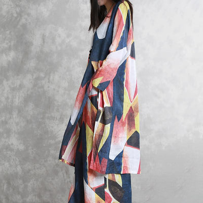 Women Spring Two Piece Set Ramie Abstract Printing Suit