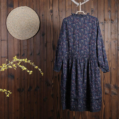Women Spring Vintage Floral Mid-Calf Pullover Loose Long Sleeve Dress