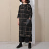 Women Three Quarter Sleeve Plaid Loose Dress
