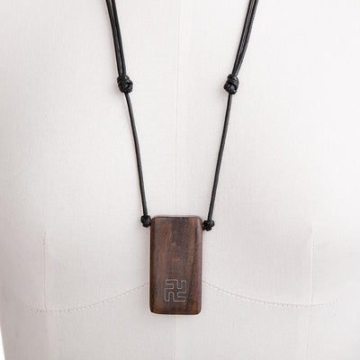 Wood Rectangle Pendant Rope Chain Necklace