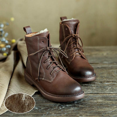 Wool-lined Retro Leather Boots