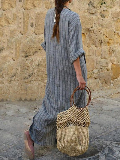 Grey Cotton Long Striped Dress with Rolled Up Sleeves