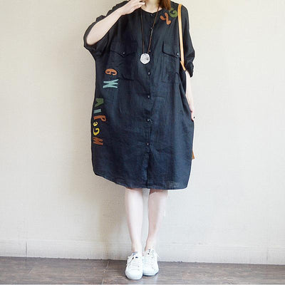 Casual Loose Letter Embroidery Midi Shirt Dress