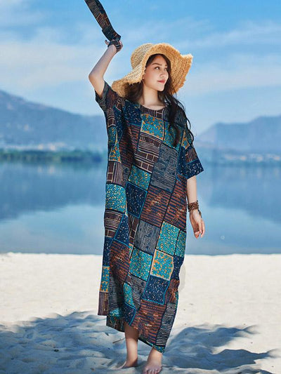 2019 Summer New Original Fashion Loose Oversize Bamboo Hemp Maxi Dress