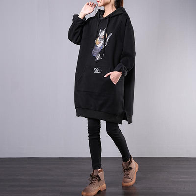 Buykud Cartoon Cat Casual Loose Comfortable Hooded Dress