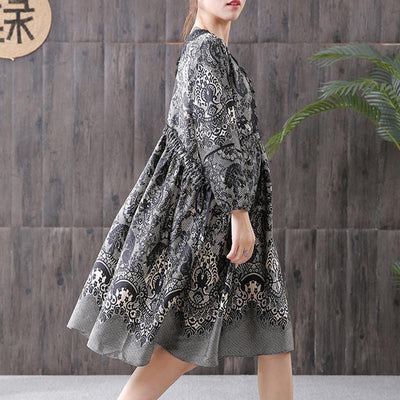 Ethnic Style Printing Hollow Embroidery Dress
